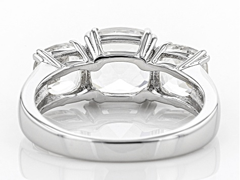 White Crystal Quartz Rhodium Over Sterling Silver Ring 3.60ctw