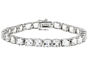 White crystal quartz rhodium over sterling silver bracelet 35.19ctw