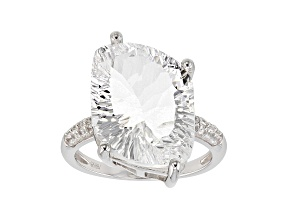 White Crystal Quartz rhodium over silver ring 11.06ctw