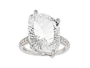 White Crystal Quartz rhodium over silver ring 11.06ctw