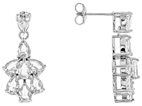 White Crystal Quartz Rhodium Over Sterling Silver Earrings 4.47ctw