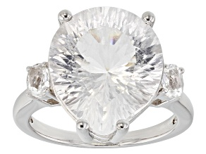 White Crystal Quartz rhodium over silver ring 7.67ctw