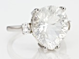 White Crystal Quartz rhodium over silver ring 7.67ctw