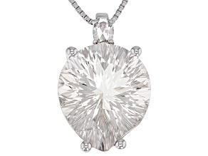 White Crstyal Quartz rhodium over silver pendant with chain 7.53ctw