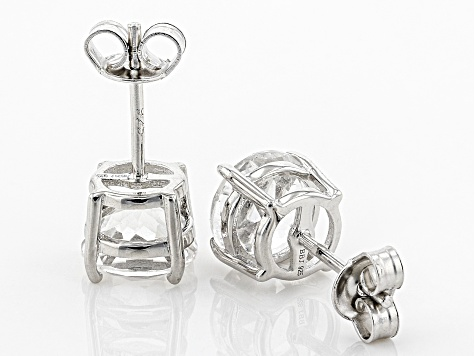 White Crystal Quartz Rhodium Over Sterling Silver Earrings 3.06ctw
