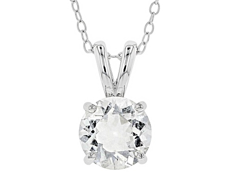 White Crystal Quartz Rhodium Over Sterling Silver Pendant With Chain 1.53ct