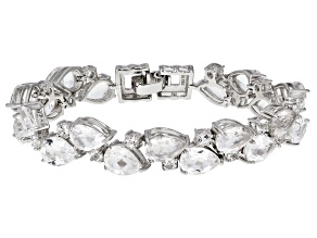 White Crystal Quartz Rhodium Over Sterling Silver Bracelet 23.07ctw