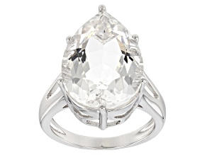 White Crystal Quartz Rhodium Over Sterling Silver Ring 8.58ct