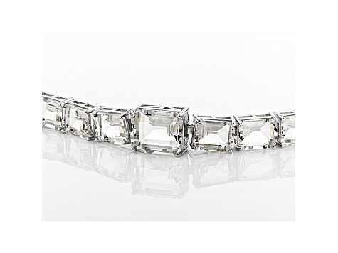 White Crystal Quartz Rhodium Over Sterling Silver Bracelet 34.03