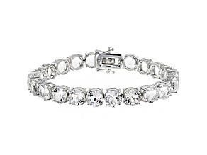 White Crystal Quartz Rhodium Over Sterling Silver Tennis Bracelet 30.66ctw