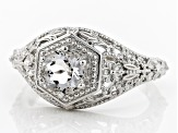 White Crystal Quartz Rhodium Over Sterling Silver Ring .66ct