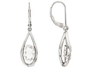 White Crystal Quartz Rhodium Over Sterling Silver Earrings 3.61ctw