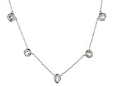 White crstyal quartz rhodium over sterling silver necklace 16.73ctw