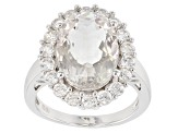 White crystal quartz rhodium over silver ring 6.41ctw