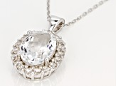 White crystal quartz rhodium over silver pendant with chain 6.41ctw