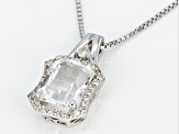 White Crystal Quartz Rhodium Over Sterling Silver Pendant with Chain 2.21ctw