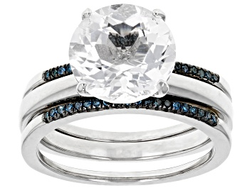 Picture of White crystal quartz rhodium over sterling silver ring set 3.23ctw