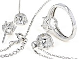 White Crystal Quartz Rhodium Over Sterling Silver Jewelry Set 6.18ctw