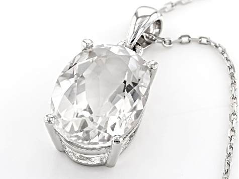 White Crystal Quartz Rhodium Over Sterling Silver Pendant With Chain 5.16ctw