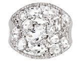 White Crystal Quartz Rhodium Over Sterling Silver Ring 3.21ctw