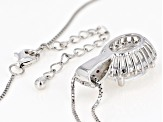 White Crystal Quartz Rhodium Over Sterling Silver Pendant with Chain 4.38ctw