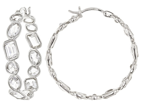 White crystal quartz rhodium over sterling silver hoop earrings 8.35ctw