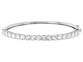 White Crystal Quartz Rhodium Over Sterling Silver Bracelet 6.94ctw
