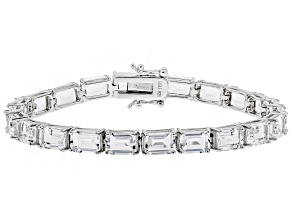 White Crystal Quartz Rhodium Over Sterling Silver Bracelet 18.70ctw