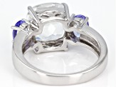 White Crystal Quartz Rhodium Over Sterling Silver Ring 4.25ctw