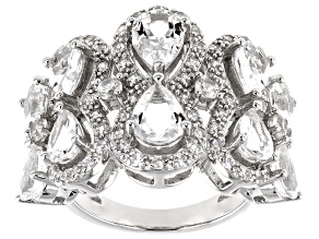 White Crystal Quartz Rhodium Over Sterling Silver Ring 4.07ctw