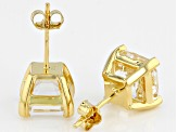 White Crystal Quartz 18k Yellow Gold Over Sterling Silver Earrings 4.08ctw