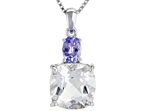 White Crystal Quartz Rhodium Over Sterling Silver Pendant With Chain 3.92ctw