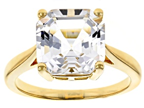 White Crystal Quartz 18k Yellow Gold Over Sterling Silver Ring 3.40ct