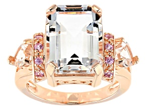 White Crystal Quartz 18k Rose Gold Over Sterling Silver Ring 6.57ctw