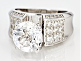 White Crystal Quartz Rhodium Over Sterling Silver Ring 4.14ctw