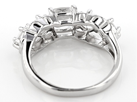 White Crystal Quartz Rhodium Over Sterling Silver Ring 1.65ctw