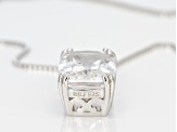 White crystal quartz rhodium over silver pendant with chain 5.26ctw