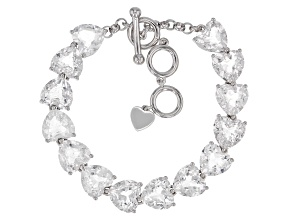 White Crystal Quartz Rhodium Over Sterling Silver Bracelet 41.96ctw