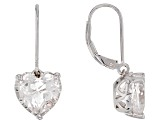 White Crystal Quartz Rhodium Over Sterling Silver Earrings 4.18ctw