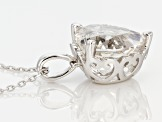 White Crystal Quartz Rhodium Over Sterling Silver Pendant with Chain 4.83ct