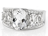 White Quartz Rhodium Over Sterling Silver Ring 4.38ctw