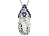 White Crystal Quartz Rhodium Over Sterling Silver Pendant with Chain 5.40ctw