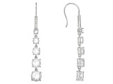 White Crystal Quartz Rhodium Over Sterling Silver Dangle Earrings 8.32ctw