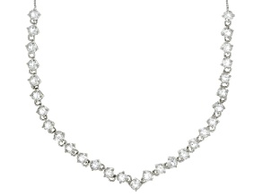 White Crystal Quartz Rhodium Over Sterling Silver Necklace 6.03ctw