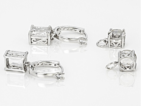 White Crystal Quartz Rhodium Over Sterling Silver Earrings 7.17ctw