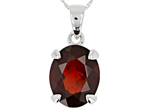 10k White Gold Oval Hessonite Garnet Solitaire Pendant With Chain