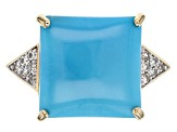 Blue Turquoise 10k Yellow Gold Ring .10ctw