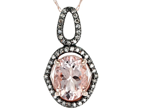 Pink Morganite 10k Rose Gold pendant with chain 1.58ctw