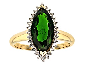 Green Russian Chrome Diopside 10k Yellow Gold 2.74ctw