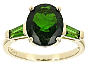 Green Chrome Diopside 10K Yellow Gold Ring 3.15Ctw